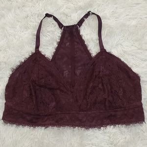 Aerie Maroon Lace Racerback support Bralette